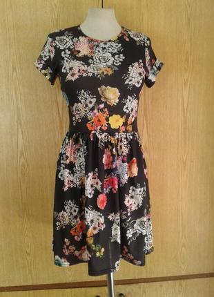 Вискозное платье черное в ярких цветах, s.4 фото