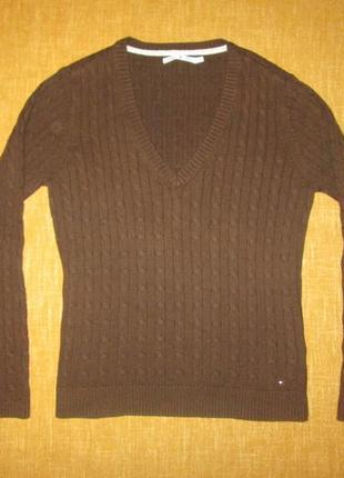 Пуловер tommy hilfiger оригинал свитер в косы кофта хлопок + кашемир