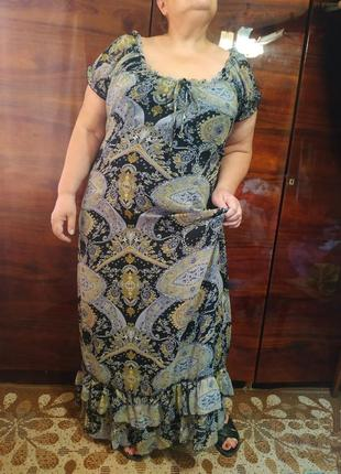 Платье летнее длинное макси в пол с рюшами шифоновое нарядное очень большое батал