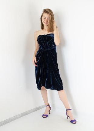 George раскошное бархатное платье-бюстье на тонких бретелях с эффектом на запах