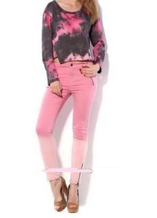 Яркие летние брюки джинсы скинни с молниями pink woman