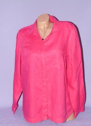 Малиновая льняная рубашка 18 размера