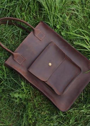 Стильная кожаная сумка шоппер ручной работы