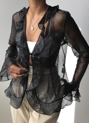 Жакет-накидка из органзы с воланами в стиле 90х винтаж винтажная