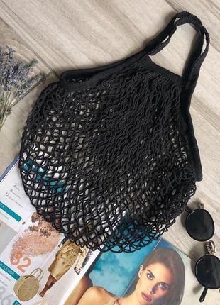 Новая  чёрная авоська эко сумка шоппер сетка