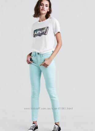 Женские джинсы скинни levis 501 w27 бирюзовые на пуговицах