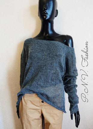 Легкий свитер накидка серый