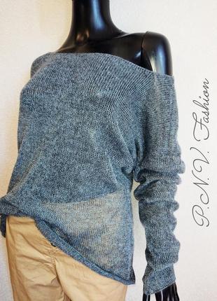 Легкий свитер накидка серый2 фото