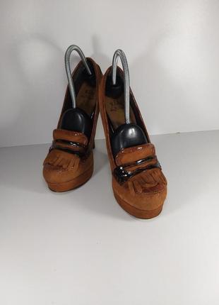 🔝рыжие замшевые туфли на высоком каблуке🚨3 фото