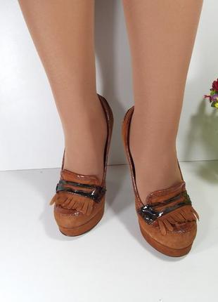 🔝рыжие замшевые туфли на высоком каблуке🚨2 фото