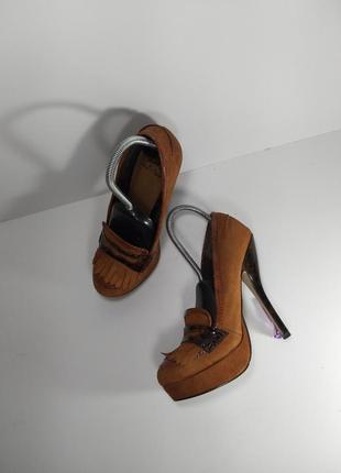 🔝рыжие замшевые туфли на высоком каблуке🚨4 фото