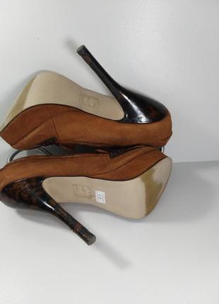 🔝рыжие замшевые туфли на высоком каблуке🚨7 фото