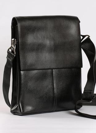 Кожаная мужская сумка-планшет черная