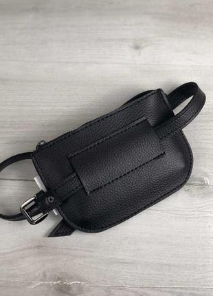 Черная маленькая сумка на пояс на молнии молодежная поясная сумочка2 фото