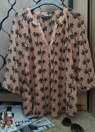 Dorothy perkins легкая блуза персикового цвета принт пальмы