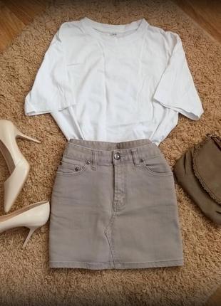 Серая джинсовая юбка размер 34/xs