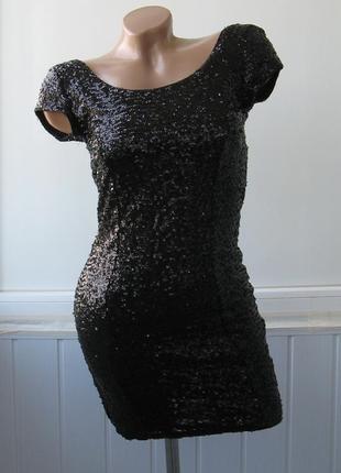 Платье облегающее, в пайетках, вечернее, нарядное