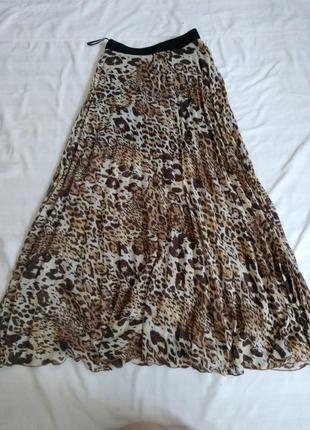 Трендовая длинная леопардовая плиссированная юбка