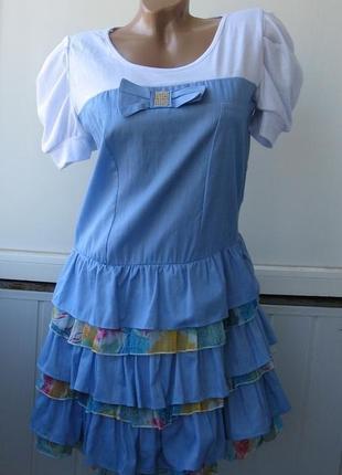 Платье летнее, рукава фонарики, юбка воланами, бант с камнями