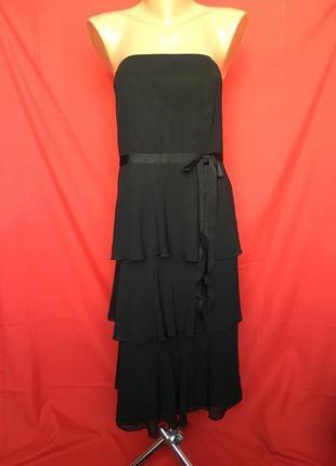 Открытое вечернее платье с ярусными воланами большой размер\56 р