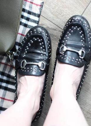 Трендовые балетки . мюли. туфли. чёрные с серебром. 37 размер