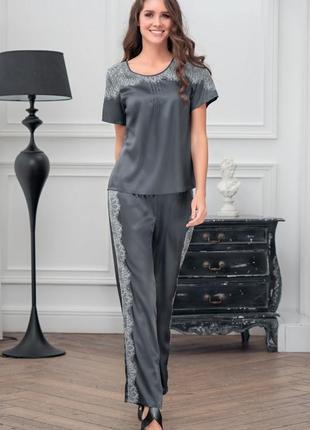Шелковая итальянская пижама с брюками  mia mia