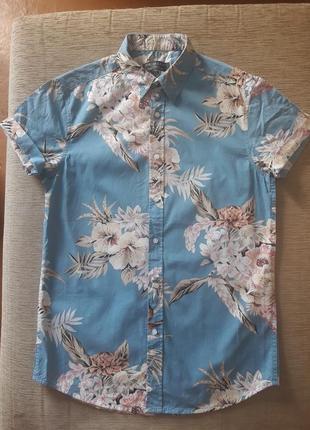 Хлопковая рубашка принт тропики 164-174