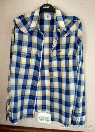 Lee рубашка в клетку р 48 батист сине желтая