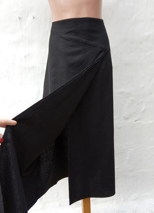 Стильная черная льняная юбка макси на запах,а силуэт,кэжуал.