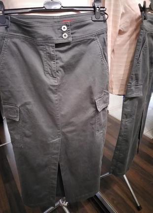 Карго style длиная юбка с карманами и высокими разрезами из хлопка4 фото