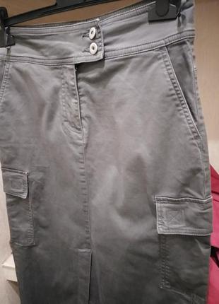 Карго style длиная юбка с карманами и высокими разрезами из хлопка7 фото