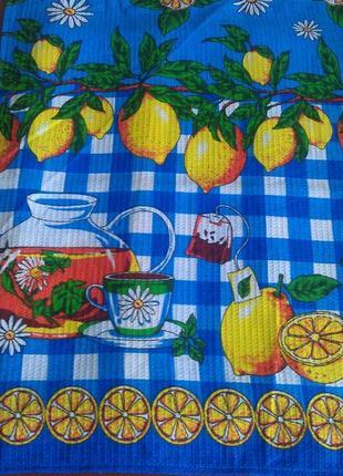 Набор из 3 ярких хлопковых полотенец для кухни чай-лимоны