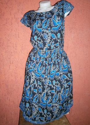 Красивое платье птицы рыбки короткие рукав вискоза
