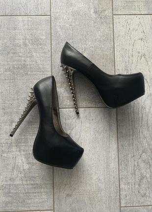 Туфли на шпильке с шипами чёрный танкетка платформа для танцев стрипластика