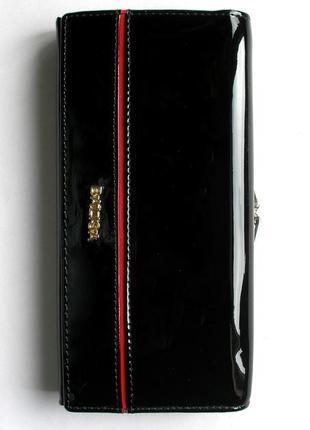 Большой черный кожаный лаковый кошелек, 100% натуральная кожа, есть доставка бесплатно