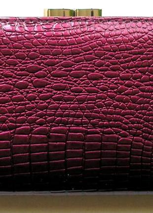 Большой кожаный лаковый кошелек слива, 100% натуральная кожа, есть доставка бесплатно7 фото