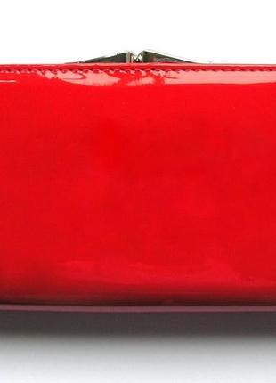 Большой красный кожаный лаковый кошелек, 100% натуральная кожа, есть доставка бесплатно2 фото