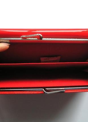 Большой красный кожаный лаковый кошелек, 100% натуральная кожа, есть доставка бесплатно3 фото