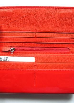 Большой красный кожаный лаковый кошелек, 100% натуральная кожа, есть доставка бесплатно4 фото