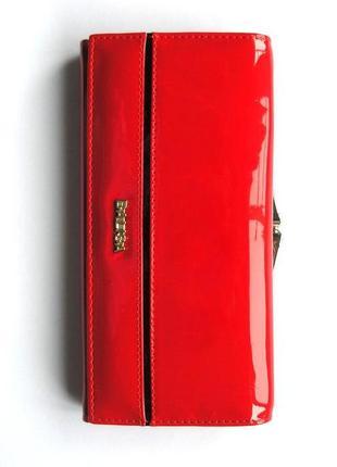 Большой красный кожаный лаковый кошелек, 100% натуральная кожа, есть доставка бесплатно