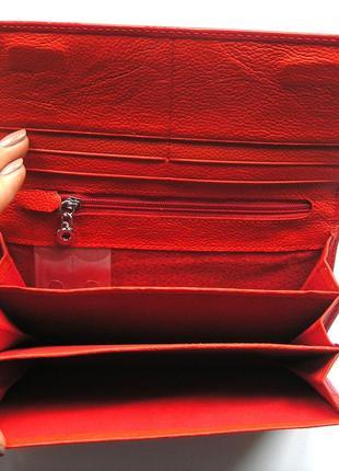 Большой красный кожаный лаковый кошелек, 100% натуральная кожа, есть доставка бесплатно5 фото