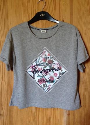 Кроп топ серый футболка укороченная pimkie m-l