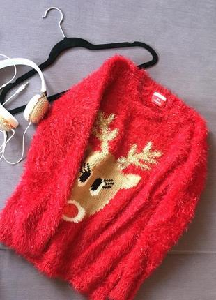 Клевый базовый мягкий  свитер травка на новогднюю тематику george