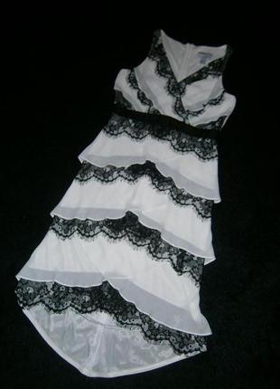 Стильное нежное шифоновое платье миди с французким кружевом удлинненое сзади