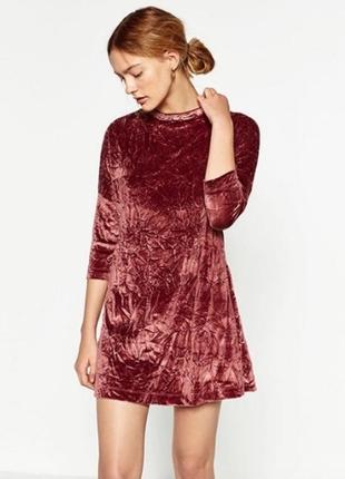 Бархатное прямое платье-футболка рукав 3/ 4 оверсайз - 25% скидка!