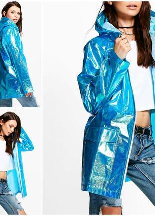 Парка дождевик цвета металлик с капюшоном куртка ветровка водонепроницаемая