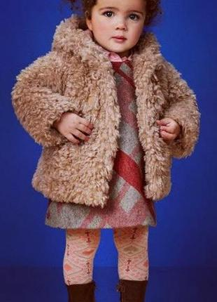 Стильная/ворсистая/кремовая эко шубка/шубейка с капюшоном teddy bear coat hood cream next.