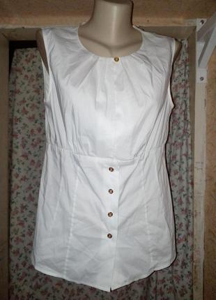 Блуза без рукавов топ удлиненный на пуговицах
