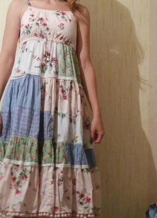 Летнее/легкое/длинное/платье/сарафан/с цветами/цветы
