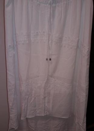 Шикарная длинная  белая юбка с кружевом марокко большой размер